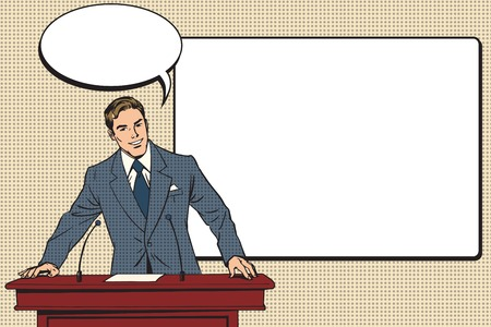 lectern: business presentation, a scientific lecture pop art retro vector. Education and science. Business coach training