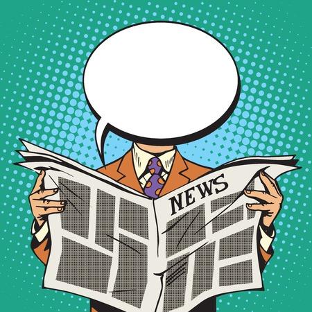 reader: Bubble head reader of the newspaper pop art retro vector Illustration