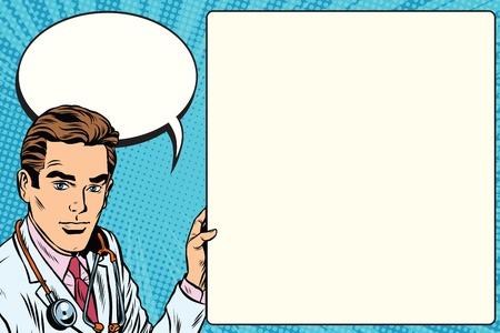 의사 발표 포스터 의학 건강 팝 아트 복고풍 벡터. 직업 의사입니다. 치료사 벡터 청진 의사입니다.