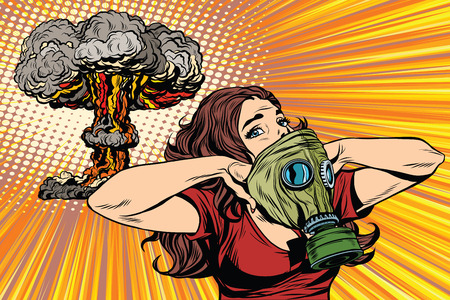 army girl: Nuclear explosion radiation hazard gas mask girl pop art retro vector. Radiation, biological and chemical hazards. Nuclear war pop art vector Illustration