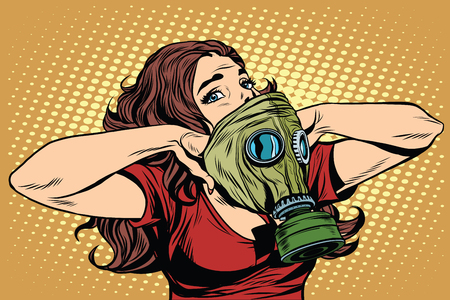gas mask: Civil defence girl wears a protective mask pop art retro vector. Nuclear war gas attack. Radiation safety. Gas mask vector