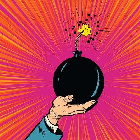 terrorists: Bomb burning fuse war terrorism pop art retro vector. War and peace. Politics and terrorists. Bomb in hand Illustration