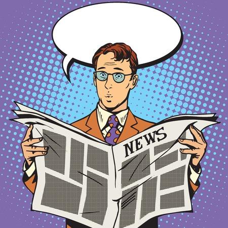 krantennieuws verrassing reader pop art retro vector
