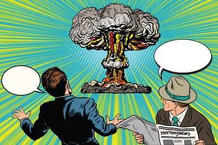 eyewitness: The beginning of a nuclear war pop art retro vector. A nuclear blast. Spectators and victims Illustration