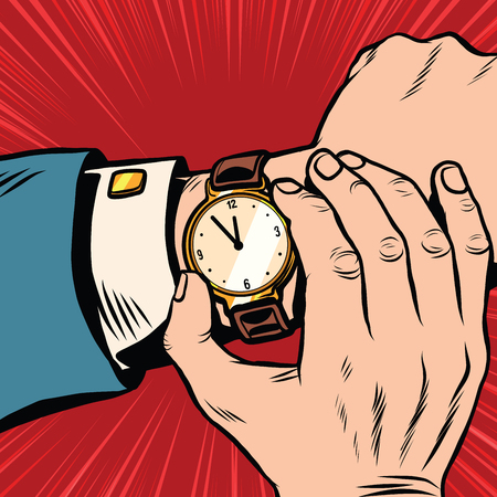 Wrist watch retro pop art pop art retro vector. What time is it. Retro clock with hands and dial  イラスト・ベクター素材