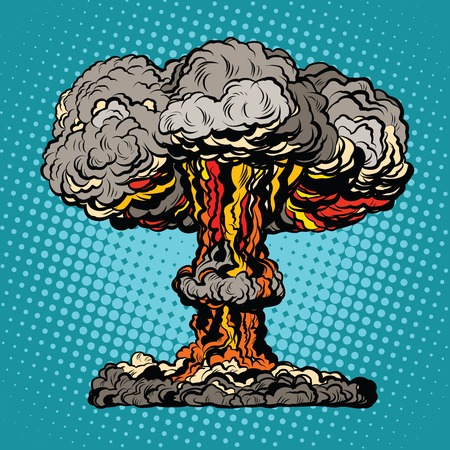 radioactive: Nuclear explosion radioactive mushroom pop art retro vector. Nuclear war. Hydrogen bomb Illustration