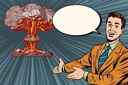 放射線安全ポップアート レトロなベクトルに核爆発の講義。レトロなポスター核戦争 写真素材 - 57589180