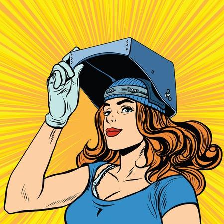 Retro-Mädchen Schweißer Job Bau Pop-Art Retro-Vektor. Schöne Mädchen in eine Maske des Schweißers. Standard-Bild - 57753445