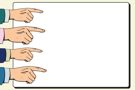 hands index finger: Hands index finger pointer poster pop art retro vector