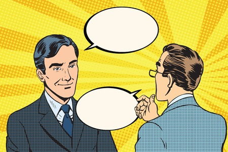 Two businessmen dialogue conversation communication pop art retro vector. Business negotiations