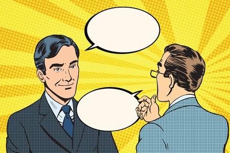 negotiations: Two businessmen dialogue conversation communication pop art retro vector. Business negotiations