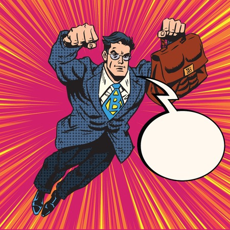 boss: Businessman super hero flying pop art retro vector. Retro hero Stock Photo