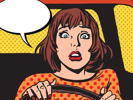 Retro meisje schrok de chauffeur pop art retro vector. Newbie achter het stuur. Rijlessen. Ongevallen en verkeersongeval