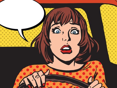 Retro girl scared the driver pop art retro vector. Newbie behind the wheel. Driving lessons. Accident and traffic accident