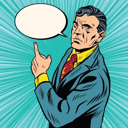 conversaciones: Índice de negocios retro del cartel del arte pop retro del vector. Un hombre muestra la dirección de su dedo. Alienta el cartel