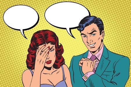 dialogo: difícil el diálogo un arte retro del vector dolor de cabeza pop. Hombre y mujer los problemas. La alegría y la tristeza