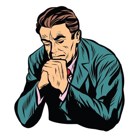 arrepentimiento: El hombre orando fe de la religión del arte pop retro del vector. fondo blanco hombre religioso retro. Cristianismo Protestante Católica