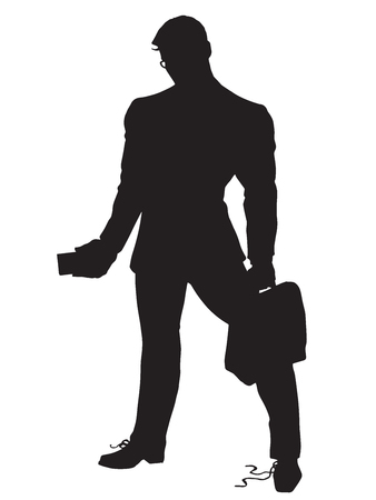 business leader: A strong leader businessman untied shoelaces pop art retro vector. Black silhouette. Conceptual business vector. Figure form icon.