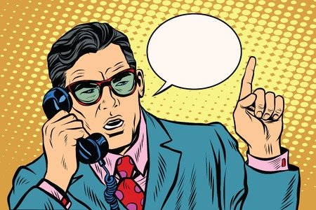 corded: Business boss talking on the phone pop art retro vector. The business negotiations. Telephone support. Retro background
