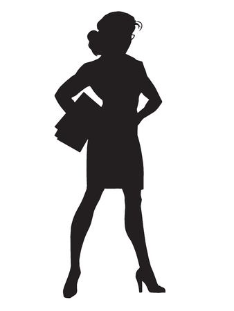 power icon: Beautiful strong businesswoman pop art retro vector. Woman vamp. Black silhouette. Conceptual business vector. Figure form icon.
