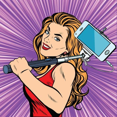 positive thought: Selfie girl sports woman pop art retro vector. Blonde with a selfie stick. The mobile phone gadgets photography