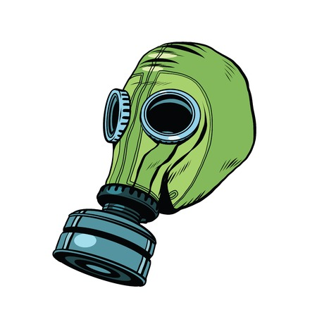 contamination: Gas mask, vintage rubber green pop art retro vector. Chemical and biological protection. Military equipment, nuclear contamination. War, White background Illustration