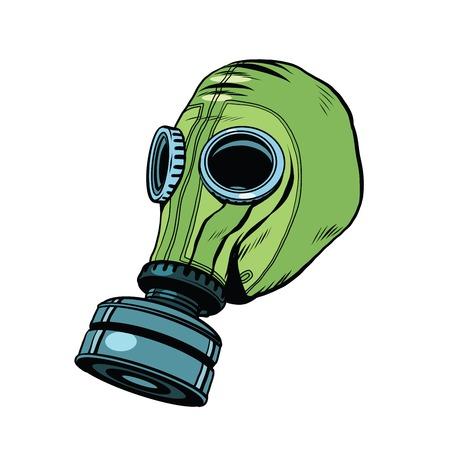 máscara de gas, caucho vendimia verde pop retro del arte del vector. Química y protección biológica. equipos militares, la contaminación nuclear. Guerra, de fondo blanco