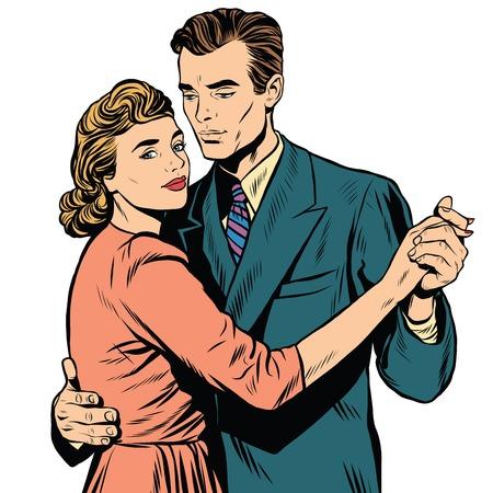 레트로 남자와 여자 춤 팝 아트 복고풍 벡터. 슬로우 댄스. 왈츠 춤 몇
