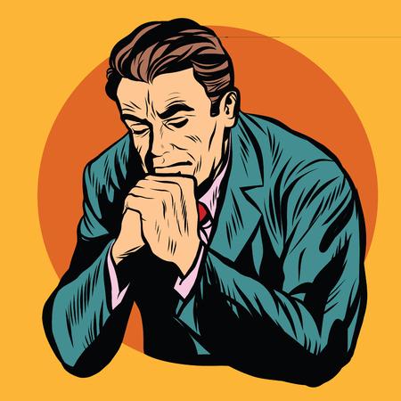 cristianismo: El hombre orando fe de la religión del arte pop retro del vector. hombre religioso retro. Cristianismo Protestante Católica Vectores