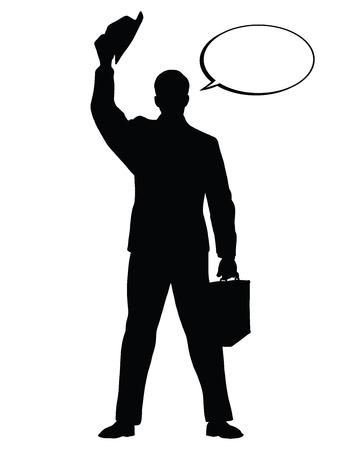 Hello businessman hat gesture pop art retro vector. Black silhouette. Conceptual business vector. Figure form icon. Vectores