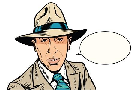 retro mafia pop art retro vector. Male mafia boss. The Italian mafia Illustration