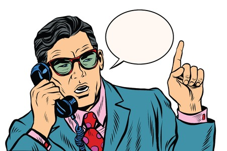 corded: Business boss talking on the phone pop art retro vector. The business negotiations. Telephone support.