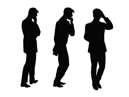 person icon: Male businessman thinks goes pop art retro vector. Black silhouette. Brainstorming, creativity. Conceptual business vector. Figure form icon.