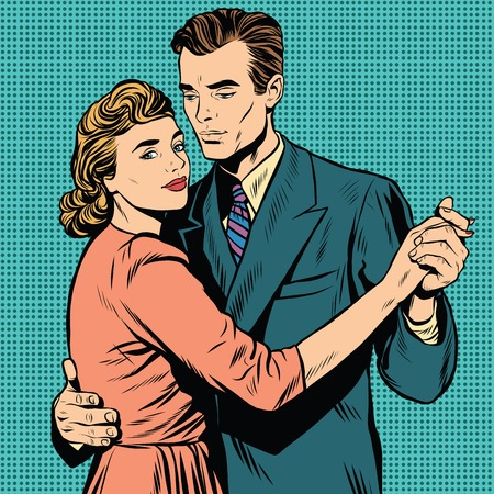 love affair: Retro man and woman dancing pop art retro vector. Slow dance. A couple dancing the waltz