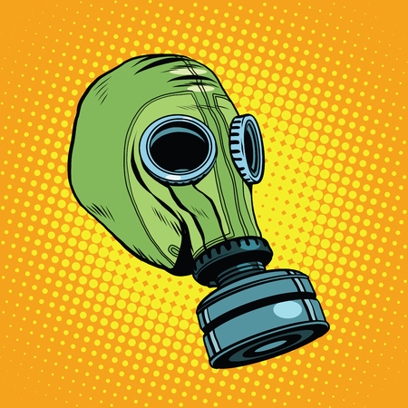 contamination: Gas mask, vintage rubber green pop art retro vector. Chemical and biological protection. Military equipment, nuclear contamination. War, Retro background