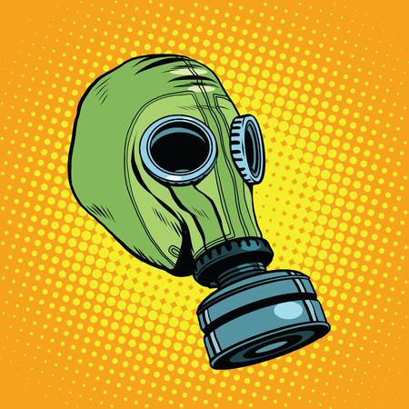 máscara de gas, caucho vendimia verde pop retro del arte del vector. Química y protección biológica. equipos militares, la contaminación nuclear. Guerra, Fondo retro