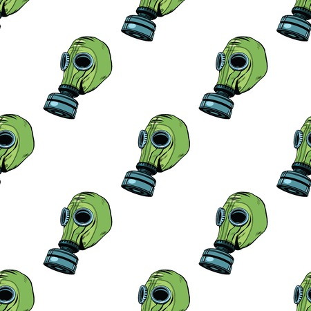 biological warfare: Gas mask seamless vector pattern, vintage rubber green pop art retro vector. Chemical and biological protection. Military equipment, nuclear contamination. War, White background