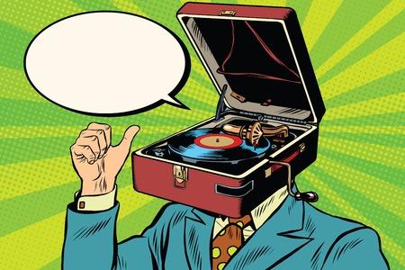 Retro minnaar muziek man grammofoon fonograaf pop art retro vector Stockfoto