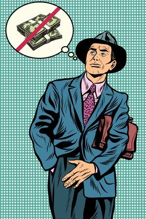empty wallet: No money businessman pop art retro vector. An empty pocket. The empty wallet. Ruin, poverty. Forgot money at home Stock Photo