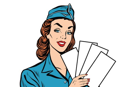 plane tickets: Girl retro stewardess with white forms brochure ticket pop art retro vector. Plane tickets. Aviation and travel. Tourism and recreation, white background