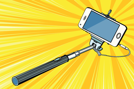 Selfie stick smartphone shooting pop art retro vector Stock Photo