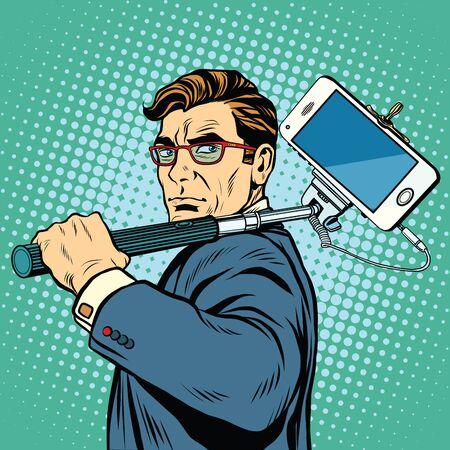 Selfie man with smartphone pop art retro vector. Photography gadgets selfie stick