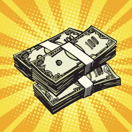 pile of money: Money Finance dollars pop art retro vector. Retro money Stock Photo