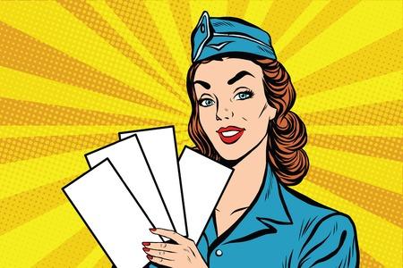 Meisje retro stewardess met witte formulieren brochure ticket pop art retro vector. Vliegtuig kaartjes. Luchtvaart en reizen. Toerisme en recreatie