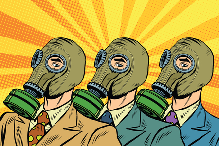 gas masks: People in gas masks the Sots art style pop art retro vector. Pop art ecology air pollution