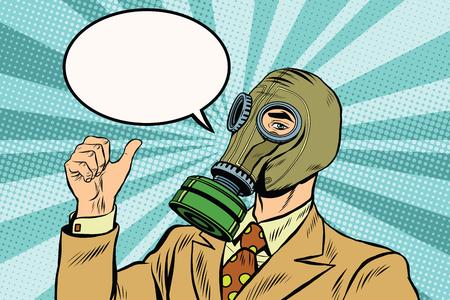 Máscara de gas hombre pulgar hacia arriba arte pop retro del vector. máscara de gas negocio medioambiental