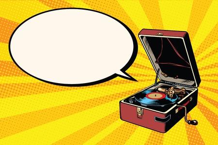Fonograf vinyl record player sztuki pop retro wektorowych. Muzyka dźwięku uderzenia. Retro sprzęt audio
