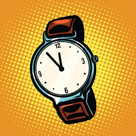 noon: Retro wrist watch with leather strap pop art retro vector. A watch with hands and dial. Time and precision. Five minutes to midnight or noon Stock Photo
