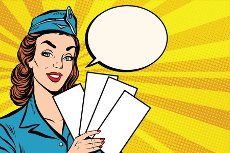 plane cartoon: Girl retro stewardess with white forms brochure ticket pop art retro vector. Plane tickets. Aviation and travel. Tourism and recreation