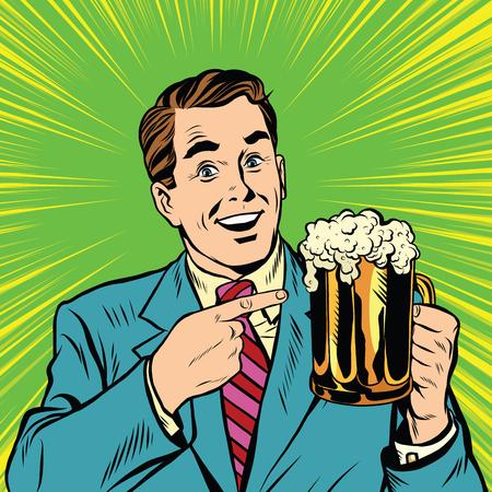 맥주 팝 아트 벡터와 레트로 남자입니다. 맥주 술집과 바. 알코올 음료의 복고풍 광고